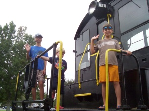 playing on the train engine